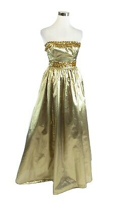 eee0a117c1a Gold Strapless Sequin Lame Gunne Sax By Jessica McClintock Vintage Dress XS  • 149.99