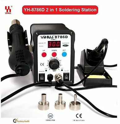 AU144.38 • Buy Genuine YIHUA 2 In 1 Soldering Solder Station SMD Rework Iron +Hot Air Gun 8786D