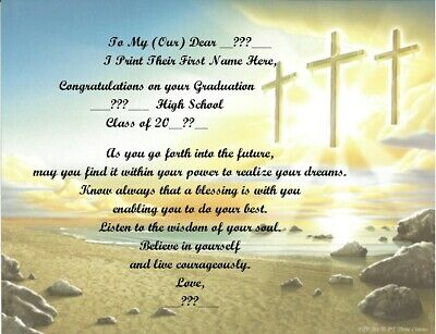 High School Graduation Personalized Poems ~ Three Crosses ~See All 24 Styles • 6.60£