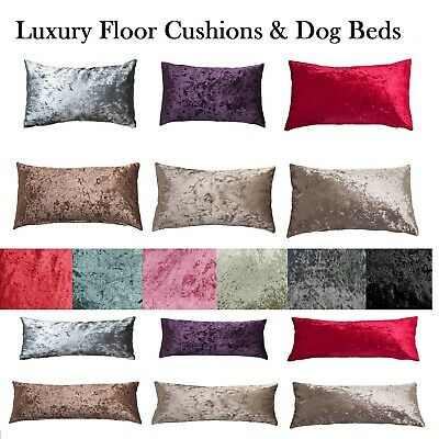 £9.99 • Buy Crushed Velvet FLOOR Cushion Covers ONLY Or With Inner 60 X 80, 80x120 DOG BEDS