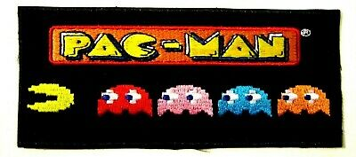 £3.25 • Buy PAC-MAN Ghosts Cartoon Game Embroidered Iron On/Sew On Patch 6 Cm X 14 Cm (HxW)