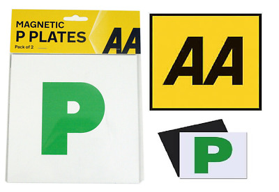 AA FULLY MAGNETIC P PLATES - Pair Of Car Learner Pass Plates (66) • 2.29£