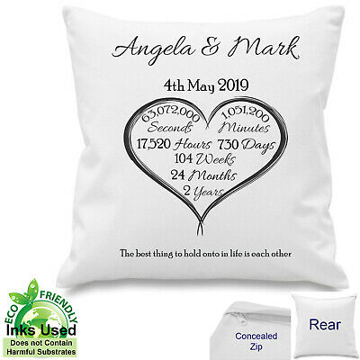 £10.50 • Buy Personalised 2nd Year Anniversary Gift Cotton Cushion Days,Weeks,Months,Seconds