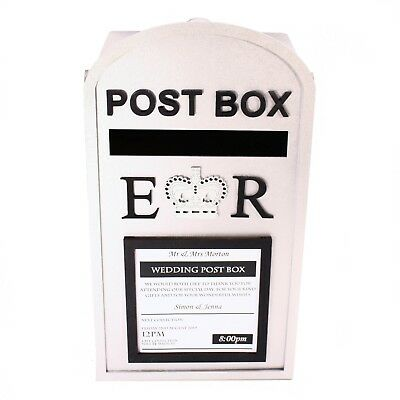 £23 • Buy Large Post Box, Royal Mail Design, SILVER MDF, For Wedding Cards Etc.