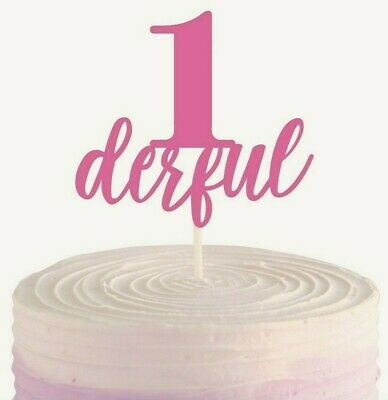 AU4.99 • Buy Pink 1st First One Derful Birthday Paper Cake Topper Party Decoration 20cm Girl