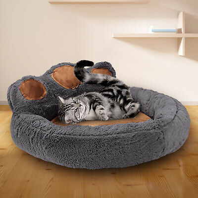 Pet Dog Cat Bed Puppy Washable Fleece Cushion Sleep Washable Fleece Kennel Paw • 15.99£