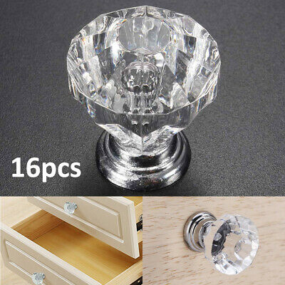 16PCS Crystal Glass Door Knobs Diamond Drawer Cabinet Furniture Handle Knob UK • 8.99£