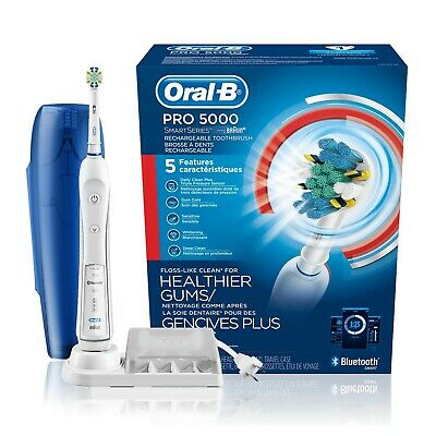 AU147 • Buy Oral-B 5000 SmartSeries Electric Toothbrush Rechargeable White Powered By Braun
