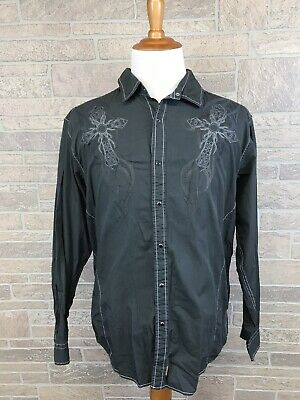 37b19f3a Mens Ring Of Fire Pearl Snap Shirt Goth Rockabilly Style Size XXL • 19.99$