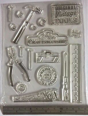 18 Vintage Tool Hammer Clear Silicone Stamp Man Card Making Scrapbooking Journal • 5.99£