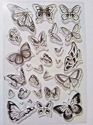 27 Clear Silicone Stamp Card Making Scrapbooking Home Decor Butterfly Lg Small • 6.99£