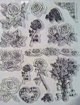15 Rose Clear Ink Stamp S Card Making Scrapbooking Journal Home Decor Art Craft • 6.99£