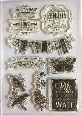 8 Clear Silicone Stamp Card Making Scrapbooking Home Decor Sentiment Butterfly • 4.99£