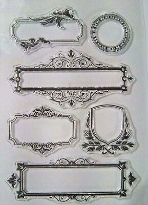 6 Banner Clear Ink Stamp S Card Making Scrapbooking Journal Home Decor Craft Art • 5.99£