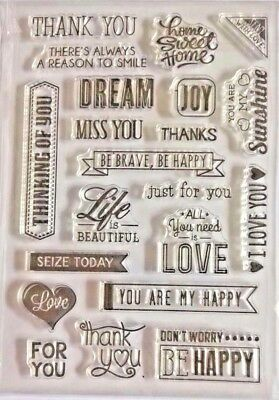 21 Clear Silicone Stamp Card Making Scrapbooking Home Decor Sentiment Sayings • 6.99£