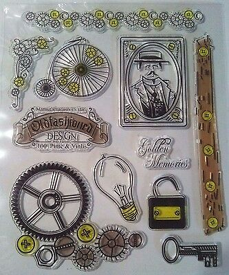 Clear Stamp Bike Cogs Bulb Key Man Grunge Steampunk Card Making Scrapbooking • 6.99£