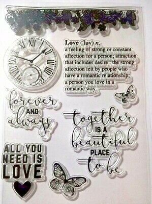 8 Clear Silicone Stamp Card Making Scrapbooking Home Decor Forever & Always Love • 5.99£
