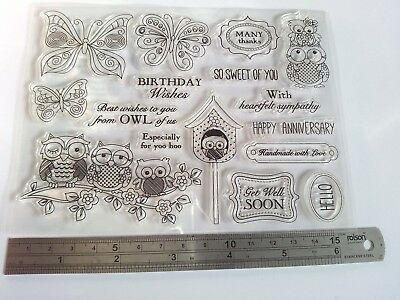16 Clear Stamps Cute Owls Sentiments Cardmaking Scrapbooking Journal Home Decor  • 4.99£