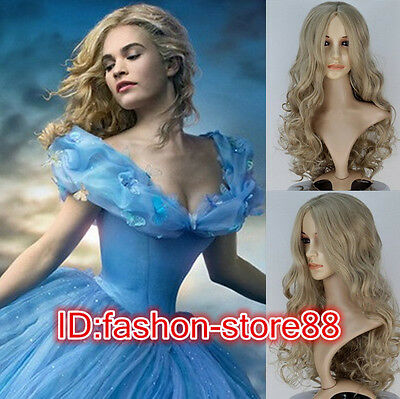 Hot! Movie Princess Cinderella Wig Long Curly Ash Blonde Anime Cosplay Wig • 8.66£