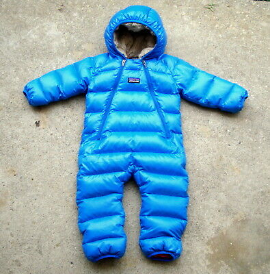 57df90682 Patagonia Infant Hi Loft Down Sweater Bunting Rompers 6 Months Blue • 16.50$
