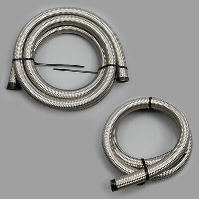 14MM Stainless Steel Braided Hose Rubber Fuel Line Hose Petrol Fluid Pipe Oil • 11.98£