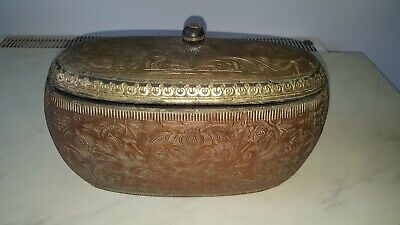 Vintage Indian Solid Wood Tea Caddy Box Copper Brass Plated Engraved 14 Inches  • 69.99£