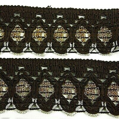 1m Brown /Gold Cotton Indian Dress Lace Fabric Trim Costumes, Dress, Crafts ST66 • 2.50£