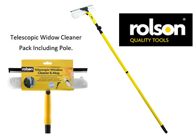 Rolson Tools - 61007 - Telescopic Window Cleaner & Mop {Pack Included 3.3m Pole} • 12.99£