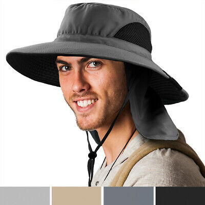$13.99 • Buy Outdoor Hiking Fishing Hat Summer Sun Protection Wide Brim Boonie Shade 50+ UPF