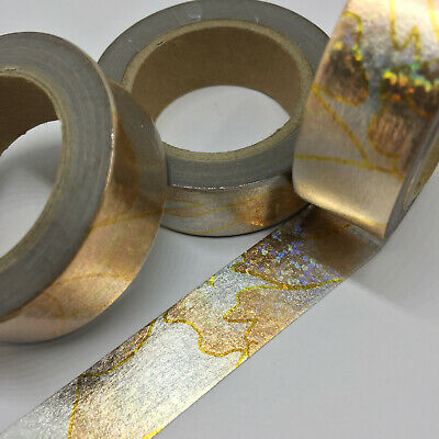 AU3.50 • Buy Washi Tape Rose Gold/silver Holographic Marble 15mm X 10mtr Planner Mail Art