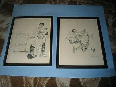 $ CDN7.55 • Buy Set Of 2 Norman Rockwell B&W Framed Prints. Dad With Son,Dad With Baby