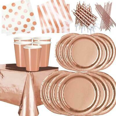 ROSE GOLD Plates Cups Table Cloth Decorations Shiny Disposable Birthday Party • 4.99£