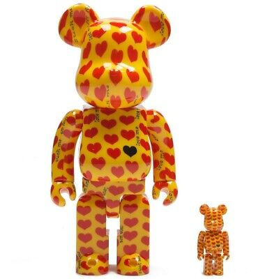 $250 • Buy Medicom BE@RBRICK Japan Hide Yellow Heart 100% 400% Bearbrick Figure Set