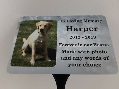 £12.90 • Buy Pet Dog Memorial Plaque Photo Personalised Grave Marker Sign Cat Ground Stake