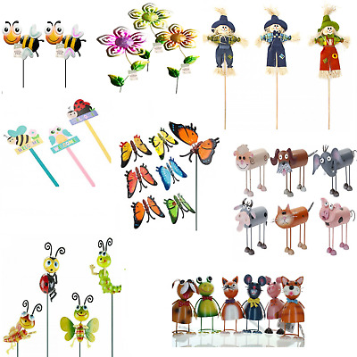 Garden Picks Decoration Scarecrows Ladybirds Bees Sunflowers Butterfly Ornaments • 5.99£