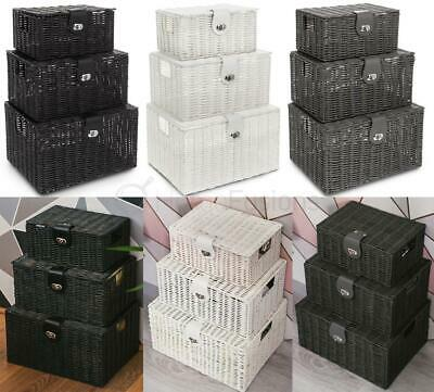 Resin Storage Basket Xmas Hamper Wicker Resin Woven Set Of 3 Box With Lid Lock  • 19.99£