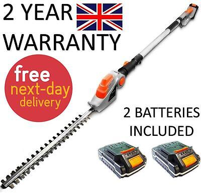 £89.99 • Buy Electric Cordless Hedge Trimmer 2 X Batteries Long Reach Cutter Pole Saw 2.4m