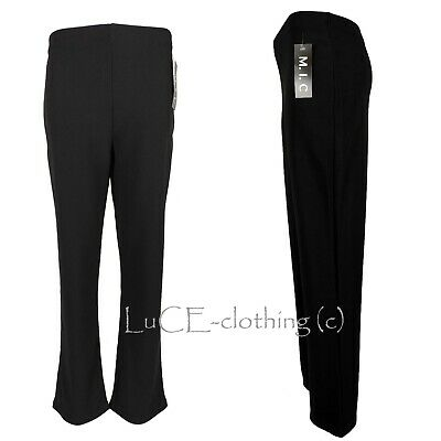 Ladies Straight Leg Trousers New Womens Ribbed Stretch Pull On Pants 8-26 • 7.99£
