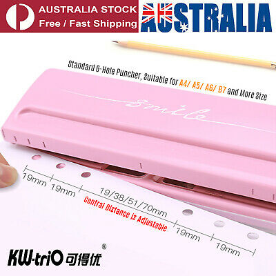 AU26.53 • Buy Adjustable 6 Sheet 6 Hole Paper Punch Puncher Office School 6 Ring Binder M8K9