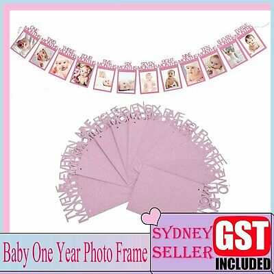 AU7.79 • Buy 1st Baby 1-12 Month Photograph Banner Glitter Garland Birthday Party Decor Pink