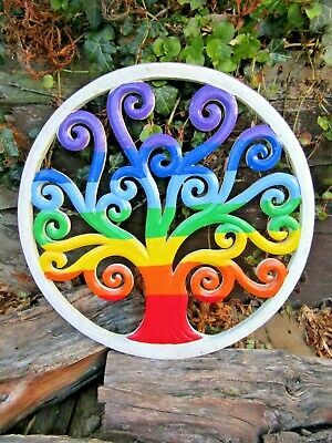 Fair Trade Hand Carved Made Wooden Rainbow Tree Of Life Wall Art Hanging Plaque • 17.99£