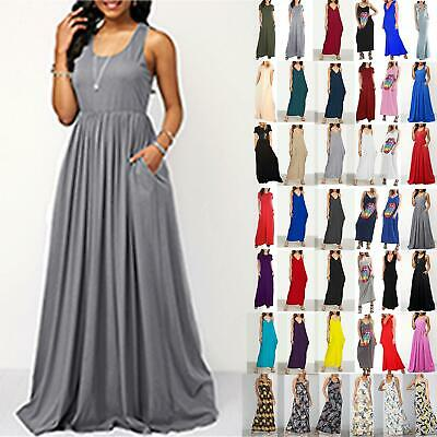 £6.89 • Buy Women Long Racer Muscle Back Sleeveless Ladies Summer Pockets Maxi Dress 8-26