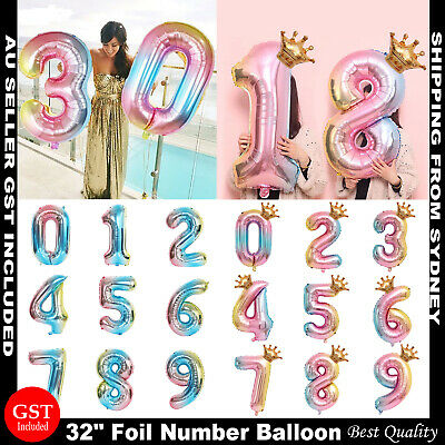 AU2.59 • Buy 81cm Iridescent Rainbow Foil Balloons 32  Number Wedding Birthday Party Balloon