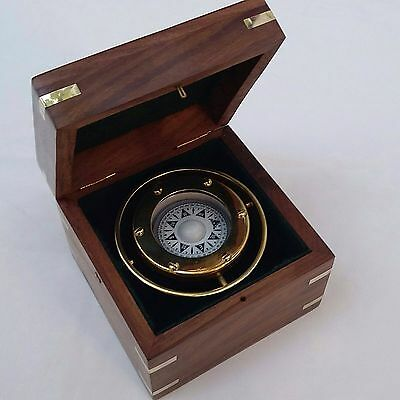 S  Nautical Marine Gimballed Ship Solid Brass Compass In Wooden Box - Gift • 23.99£