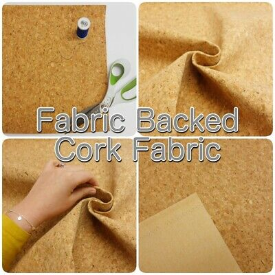 Fabric-Backed Natural Cork Vinyl Leather Handbag Craft Fabric SHEETS OR STRIPS • 1.75£