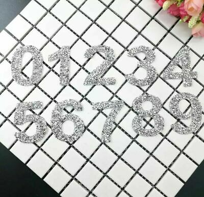 £1.99 • Buy Rhinestone Number Patch Patches Iron On / Sew On Alphabet Embroidery Clothes