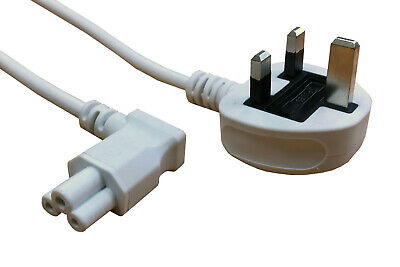 £7.50 • Buy 3m White C5 Clover Cloverleaf 90 Degree Angled Mains Cable Lead To UK Plug