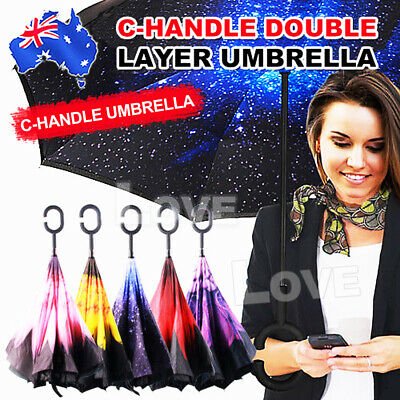 AU14.95 • Buy Upside Down Inside Inverted Umbrella Windproof Double Layer C-Handle Inside-Out