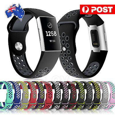 AU5.95 • Buy Soft Silicone For Fitbit Charge 3 Bands Adjustable Replacement Sport Strap Band