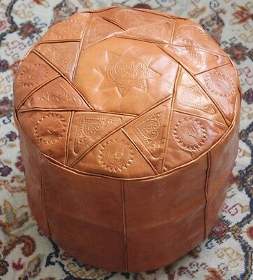 Camel Brown Handmade Moroccan Pouf Genuine Leather Pouffe Ottoman Footstool • 34.86£